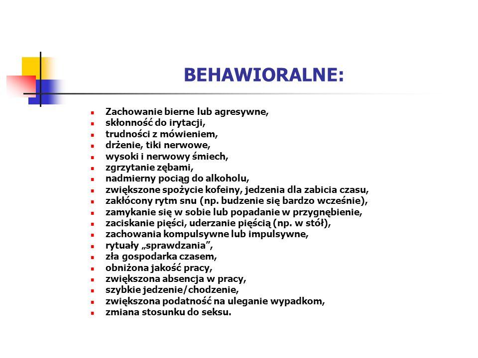 BEHAWIORALNE: Zachowanie bierne lub agresywne, skłonność do irytacji,