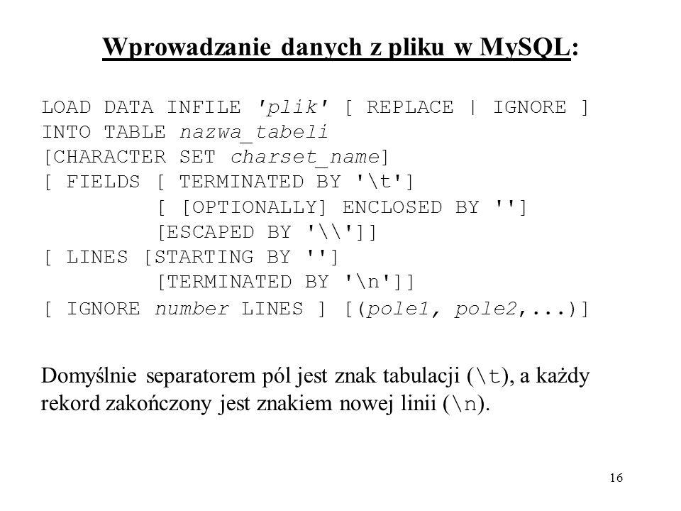 Wprowadzanie danych z pliku w MySQL: