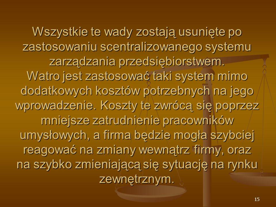Wszystkie te wady zostają usunięte po zastosowaniu scentralizowanego systemu zarządzania przedsiębiorstwem.