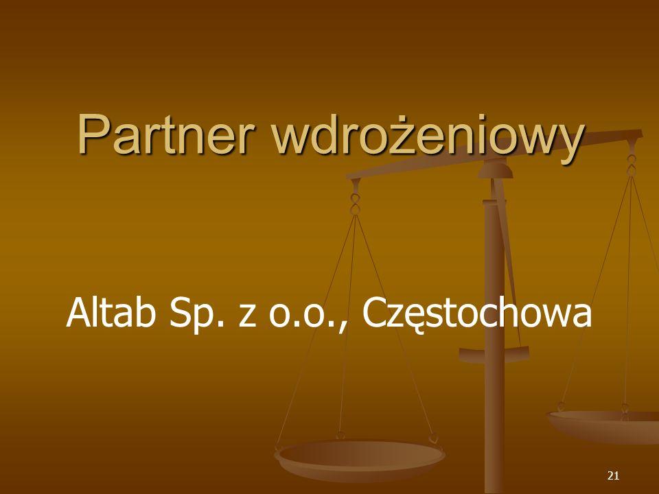 Partner wdrożeniowy Altab Sp. z o.o., Częstochowa