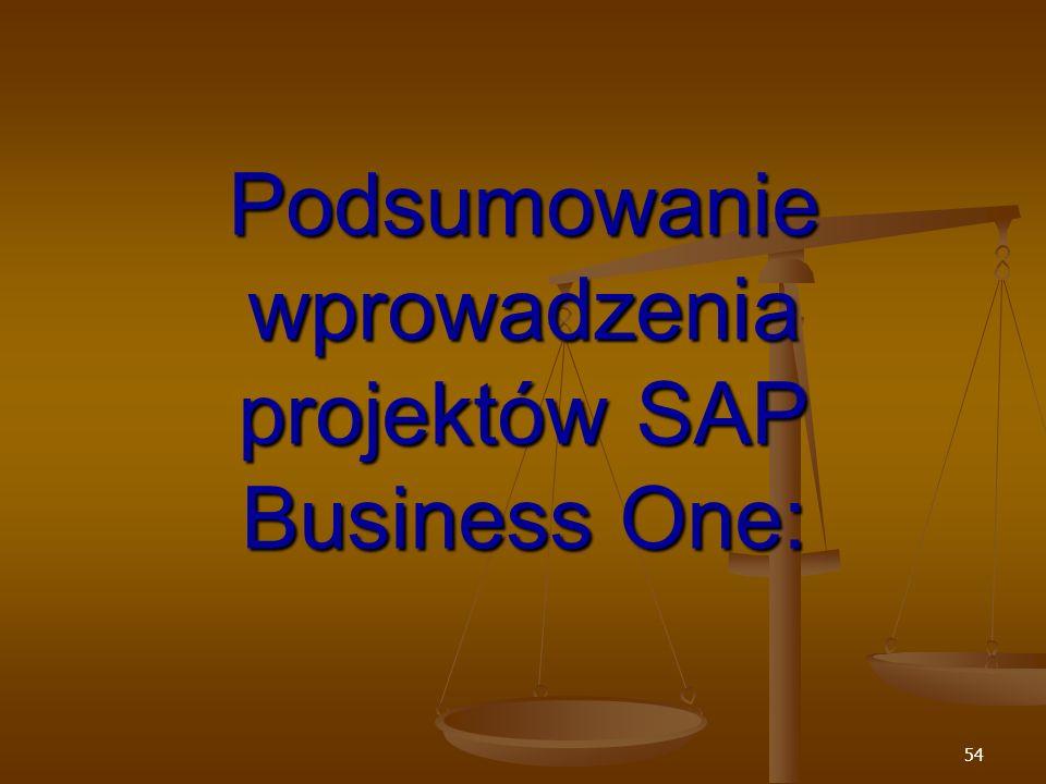 Podsumowanie wprowadzenia projektów SAP Business One: