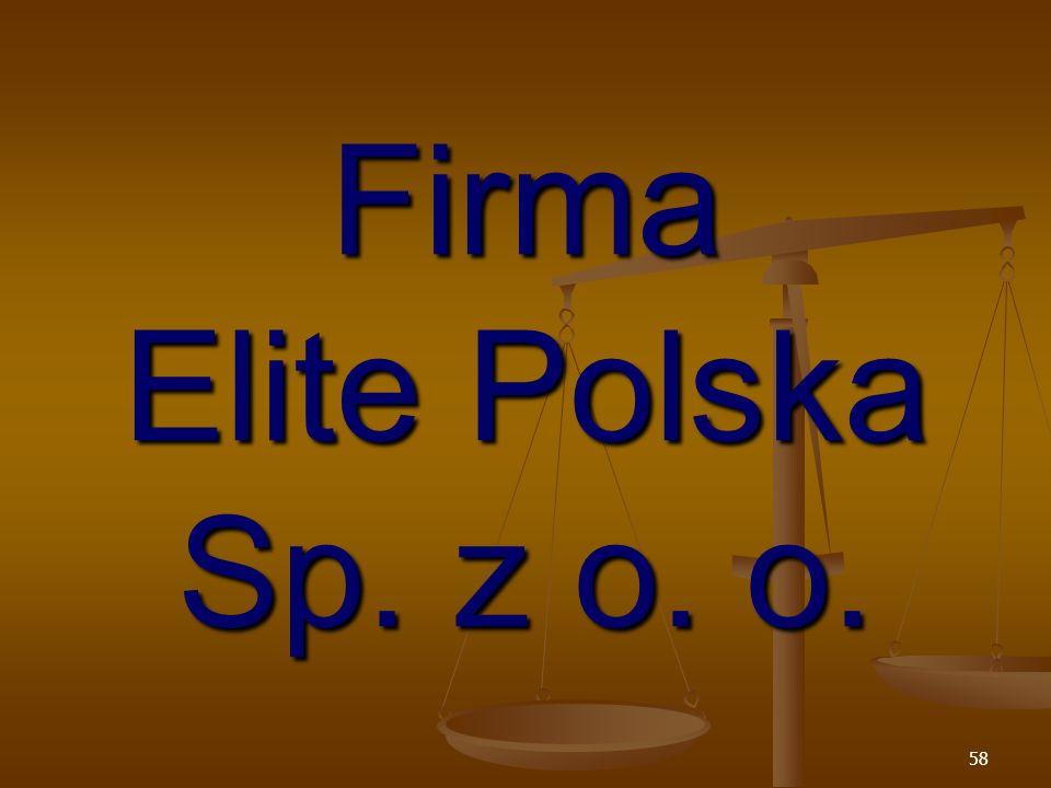 Firma Elite Polska Sp. z o. o.