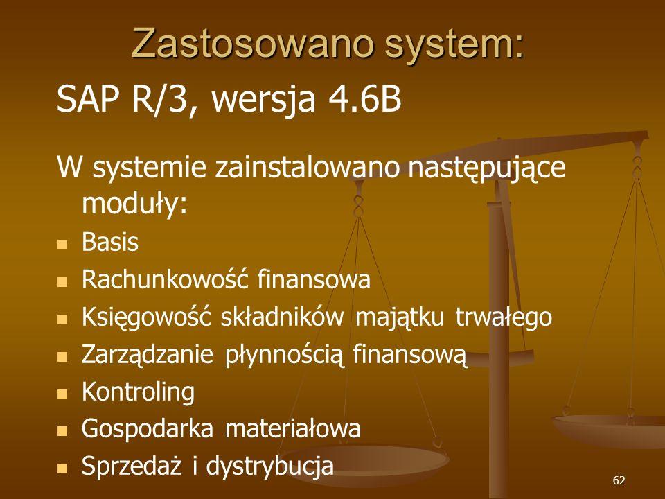 Zastosowano system: SAP R/3, wersja 4.6B