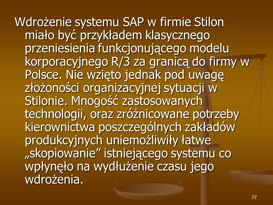 Wdrożenie systemu SAP w firmie Stilon miało być przykładem klasycznego przeniesienia funkcjonującego modelu korporacyjnego R/3 za granicą do firmy w Polsce.