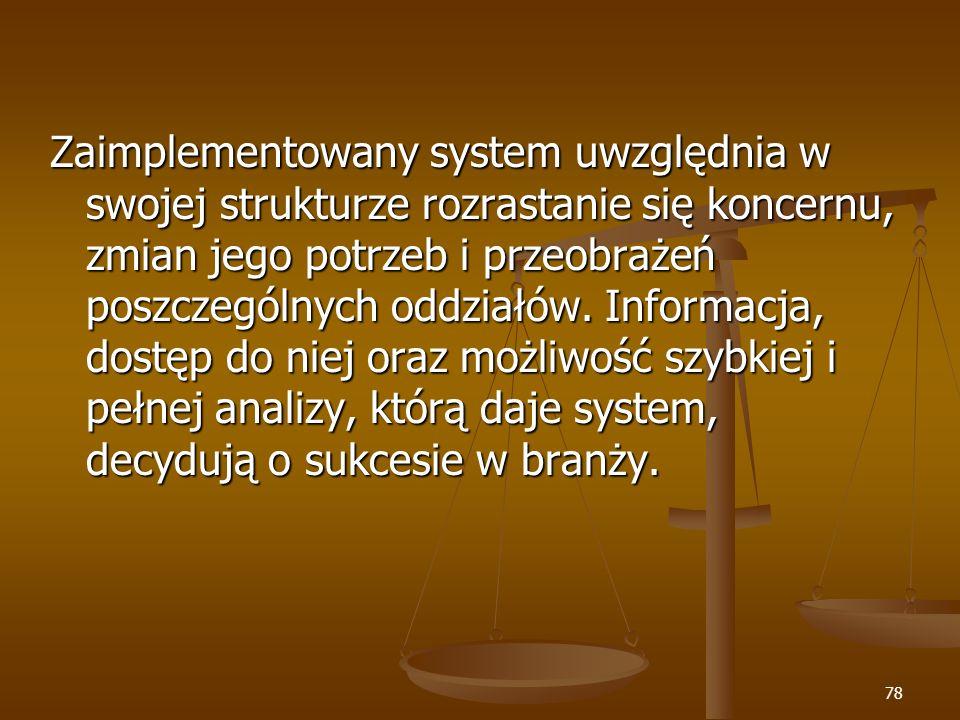 Zaimplementowany system uwzględnia w swojej strukturze rozrastanie się koncernu, zmian jego potrzeb i przeobrażeń poszczególnych oddziałów.