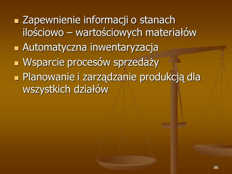 Zapewnienie informacji o stanach ilościowo – wartościowych materiałów