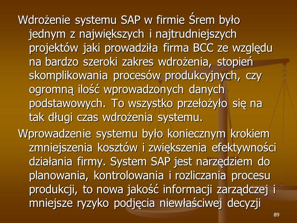 Wdrożenie systemu SAP w firmie Śrem było jednym z największych i najtrudniejszych projektów jaki prowadziła firma BCC ze względu na bardzo szeroki zakres wdrożenia, stopień skomplikowania procesów produkcyjnych, czy ogromną ilość wprowadzonych danych podstawowych. To wszystko przełożyło się na tak długi czas wdrożenia systemu.