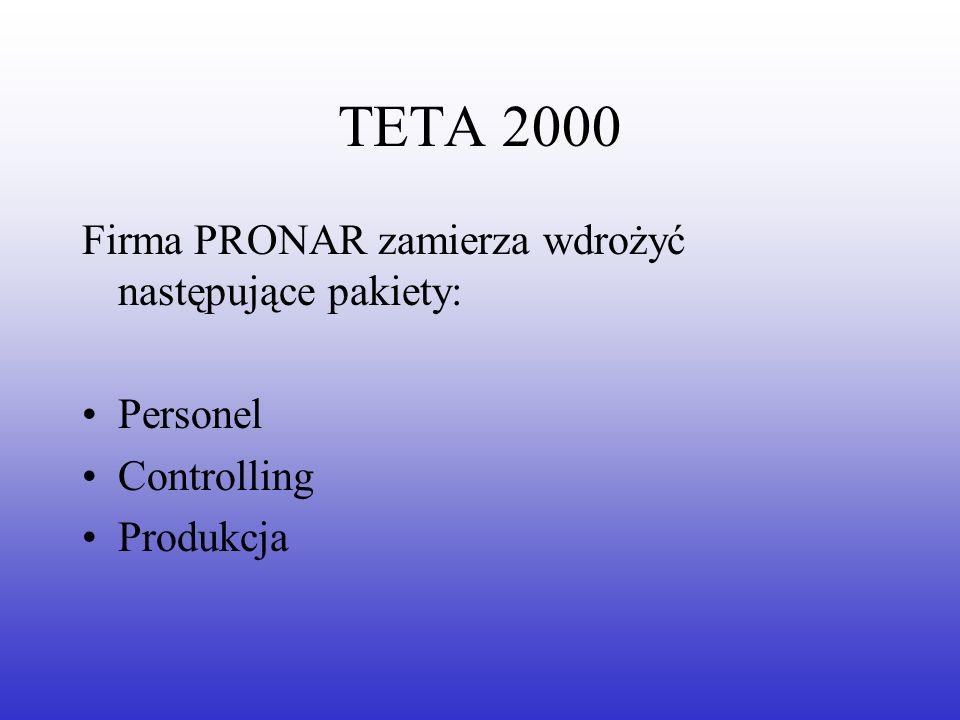 TETA 2000 Firma PRONAR zamierza wdrożyć następujące pakiety: Personel