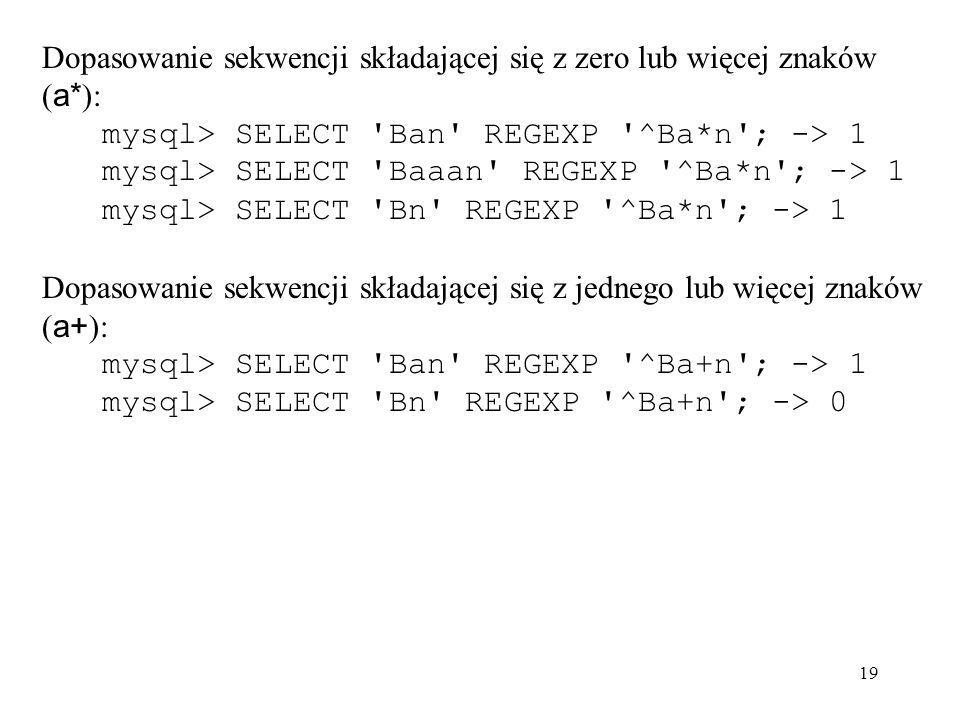 Dopasowanie sekwencji składającej się z zero lub więcej znaków (a*):