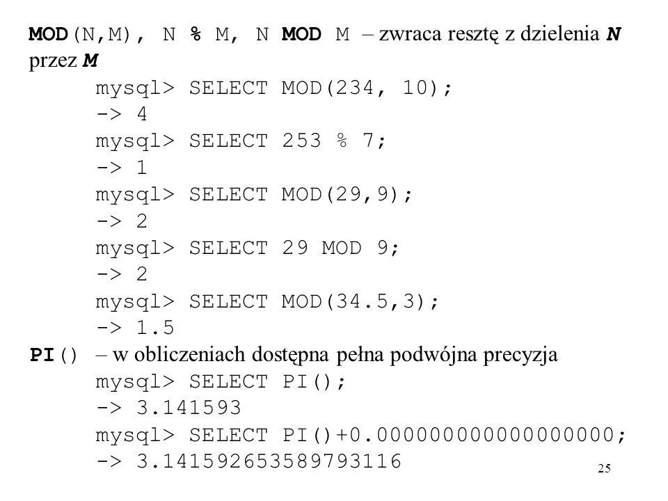 MOD(N,M), N % M, N MOD M – zwraca resztę z dzielenia N przez M