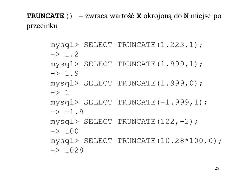 TRUNCATE() – zwraca wartość X okrojoną do N miejsc po przecinku