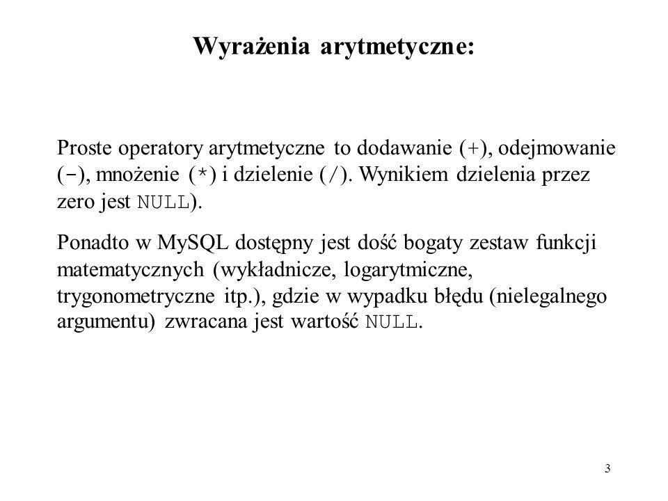 Wyrażenia arytmetyczne: