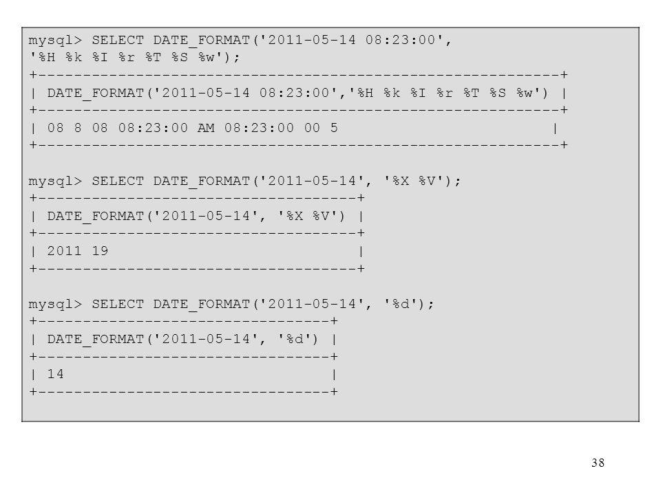 mysql> SELECT DATE_FORMAT( 2011-05-14 08:23:00 ,