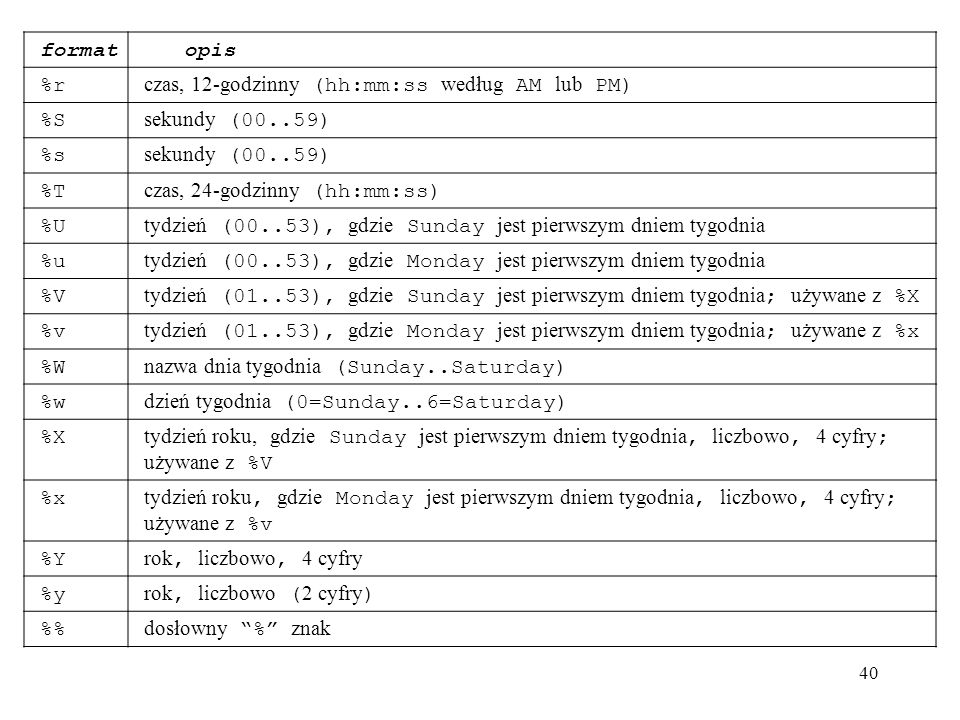 format opis. %r. czas, 12-godzinny (hh:mm:ss według AM lub PM) %S. sekundy (00..59) %s. %T. czas, 24-godzinny (hh:mm:ss)