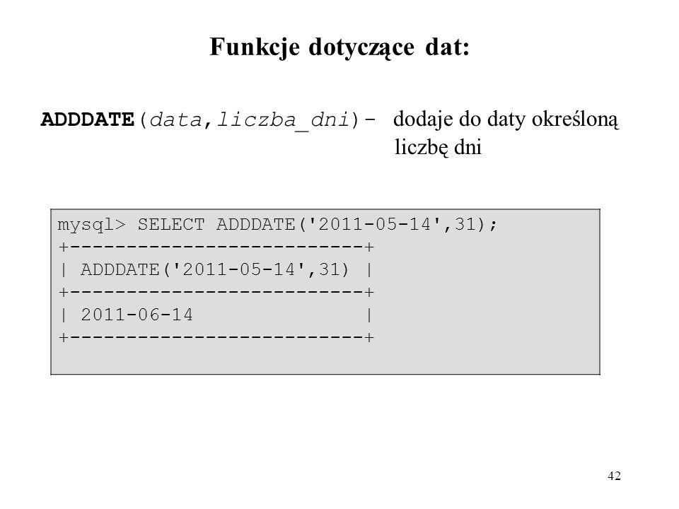 Funkcje dotyczące dat: