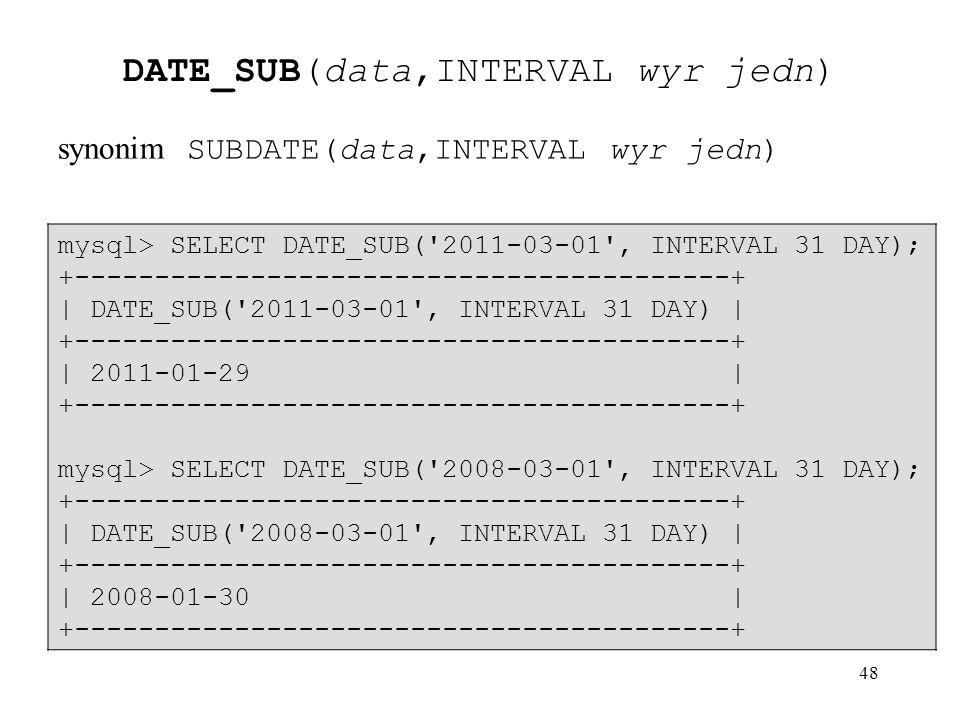DATE_SUB(data,INTERVAL wyr jedn)