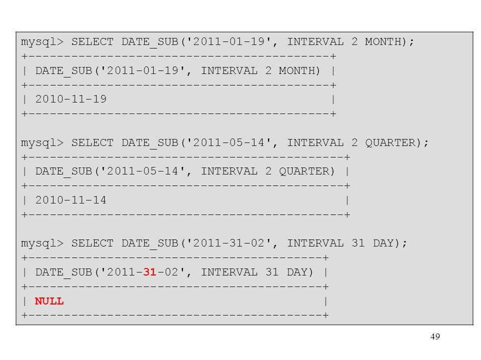 mysql> SELECT DATE_SUB( 2011-01-19 , INTERVAL 2 MONTH);