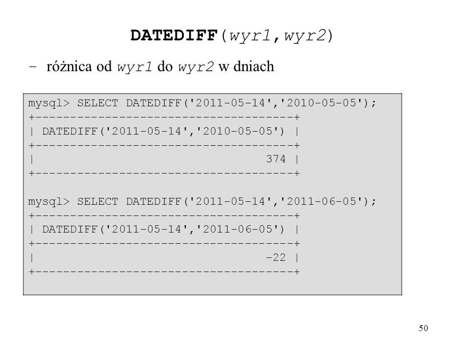 DATEDIFF(wyr1,wyr2) – różnica od wyr1 do wyr2 w dniach