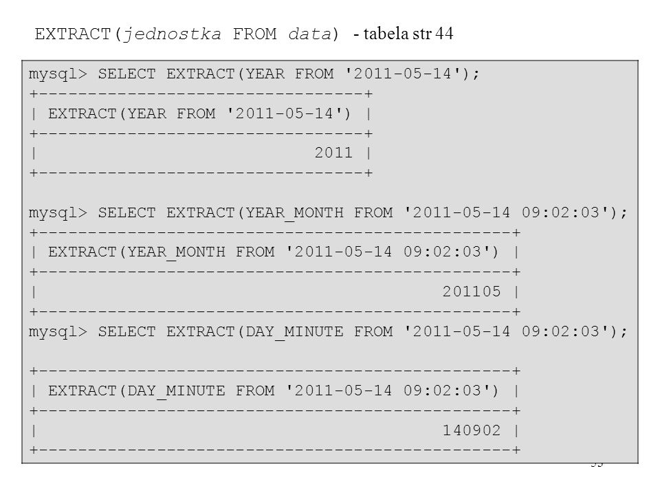 EXTRACT(jednostka FROM data) - tabela str 44