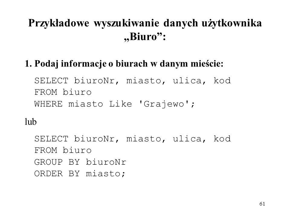 """Przykładowe wyszukiwanie danych użytkownika """"Biuro :"""