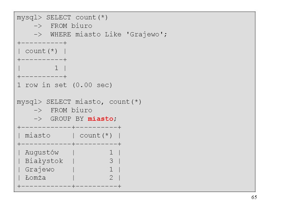 mysql> SELECT count(*)