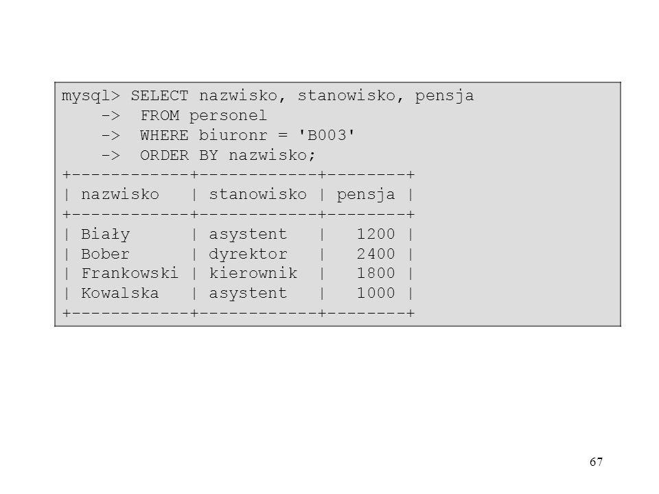 mysql> SELECT nazwisko, stanowisko, pensja