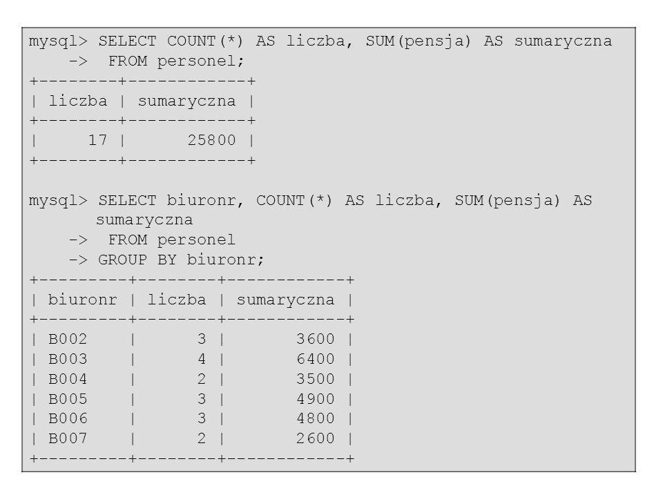 mysql> SELECT COUNT(*) AS liczba, SUM(pensja) AS sumaryczna