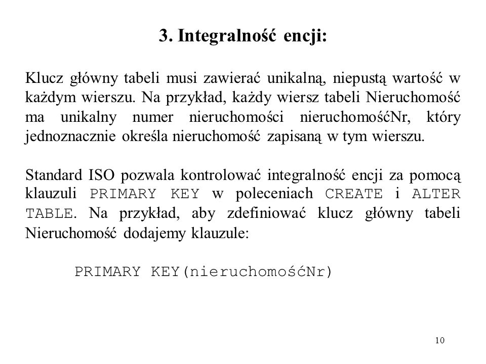 3. Integralność encji: