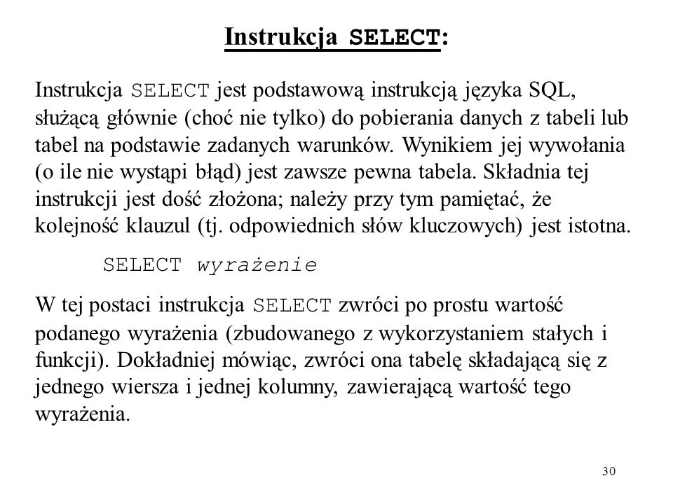 Instrukcja SELECT: