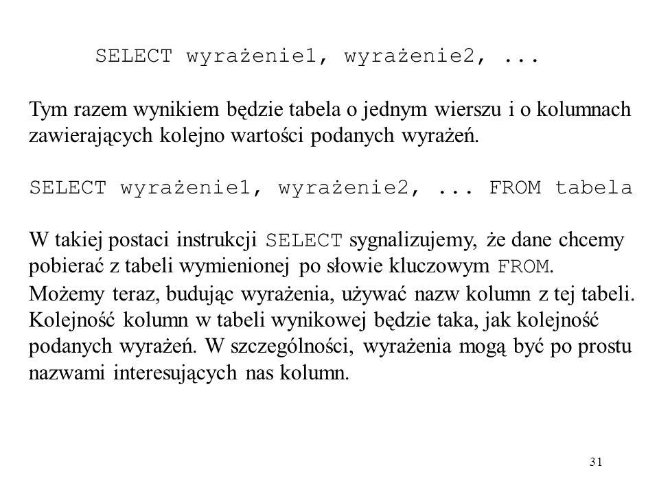 SELECT wyrażenie1, wyrażenie2, ...