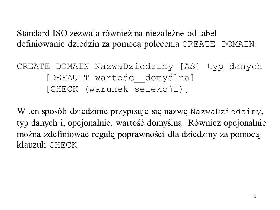 Standard ISO zezwala również na niezależne od tabel definiowanie dziedzin za pomocą polecenia CREATE DOMAIN: