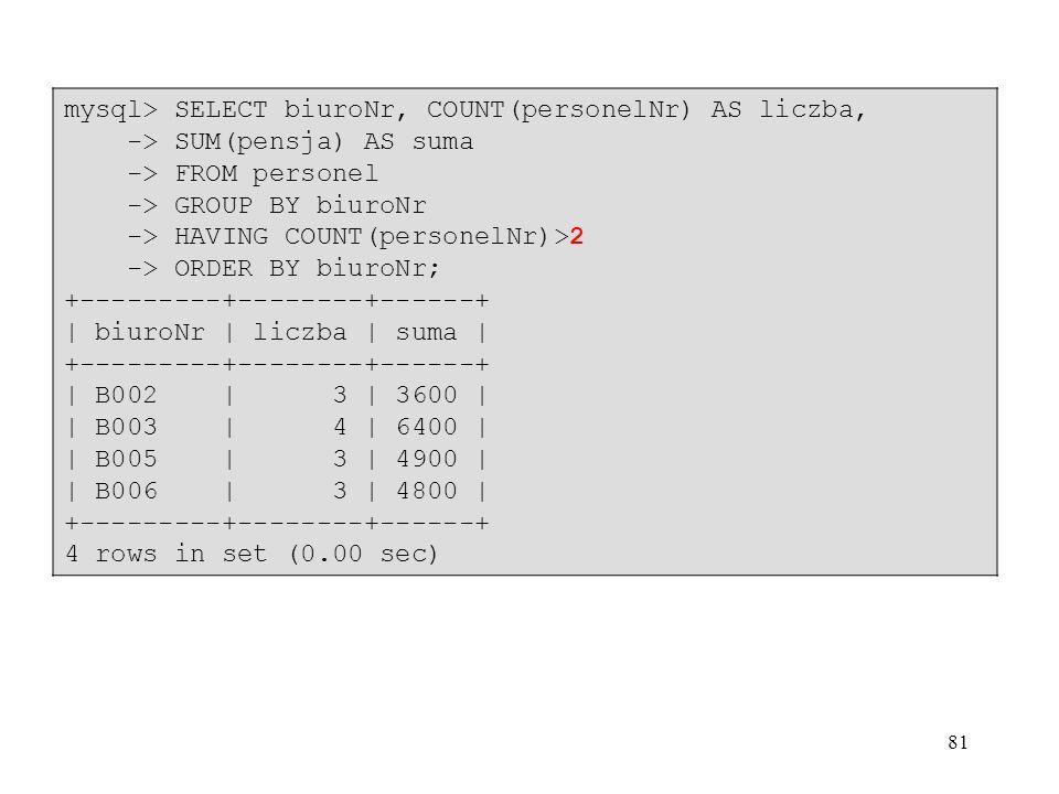 mysql> SELECT biuroNr, COUNT(personelNr) AS liczba,