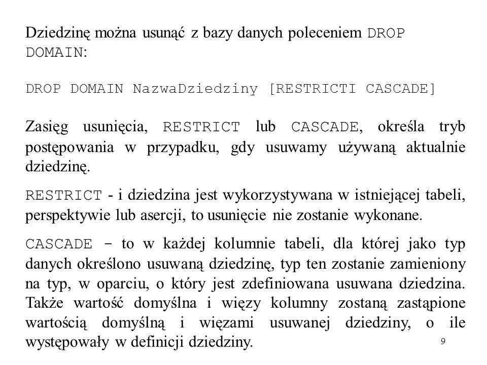 Dziedzinę można usunąć z bazy danych poleceniem DROP DOMAIN: