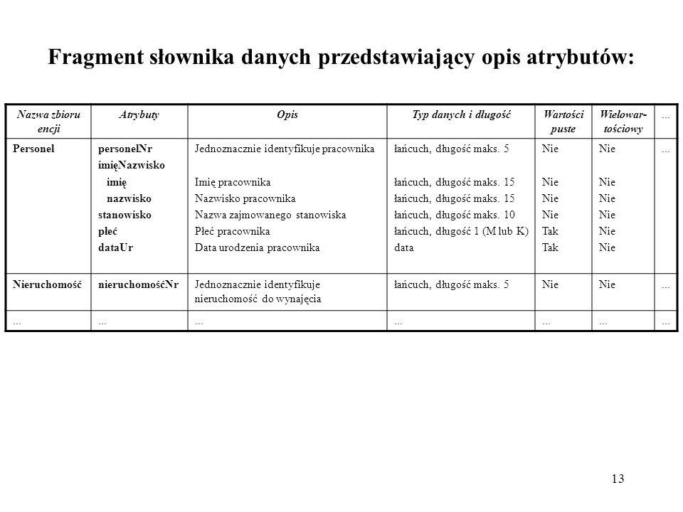 Fragment słownika danych przedstawiający opis atrybutów:
