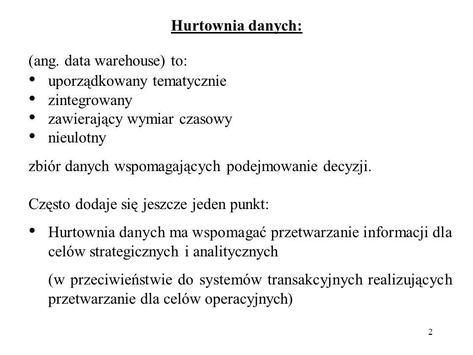 Hurtownia danych: (ang. data warehouse) to: uporządkowany tematycznie. zintegrowany. zawierający wymiar czasowy.