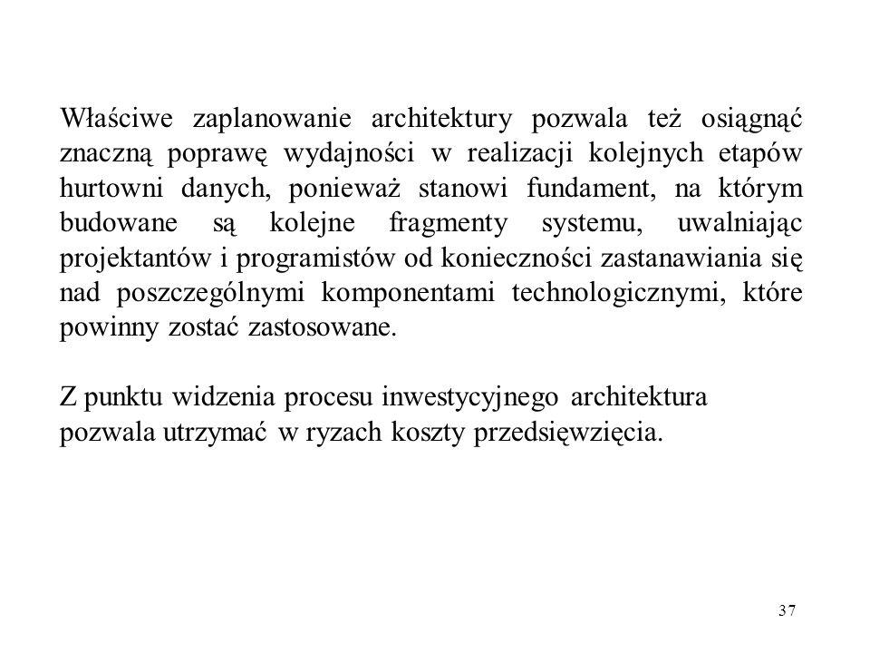 Właściwe zaplanowanie architektury pozwala też osiągnąć znaczną poprawę wydajności w realizacji kolejnych etapów hurtowni danych, ponieważ stanowi fundament, na którym budowane są kolejne fragmenty systemu, uwalniając projektantów i programistów od konieczności zastanawiania się nad poszczególnymi komponentami technologicznymi, które powinny zostać zastosowane.