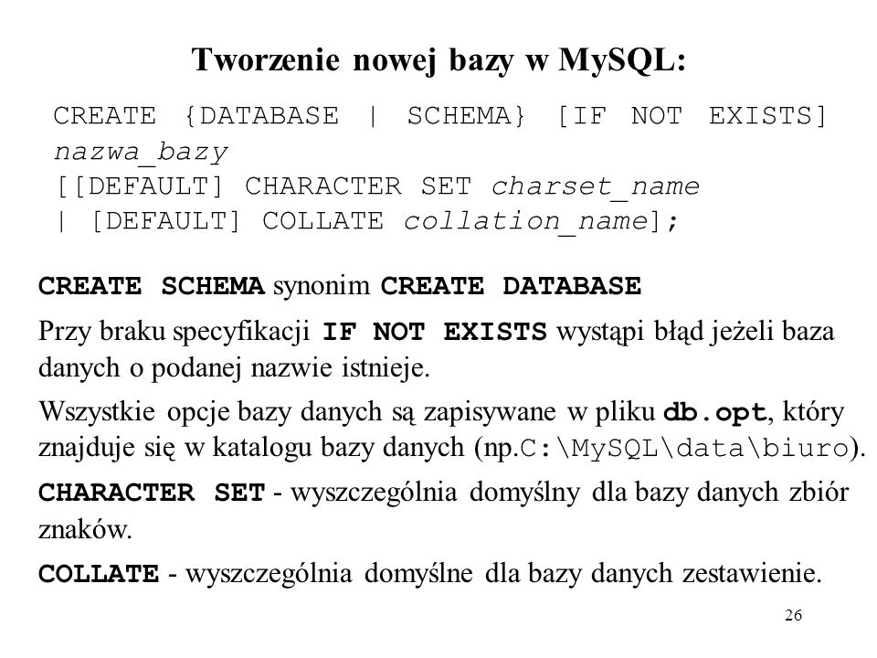 Tworzenie nowej bazy w MySQL: