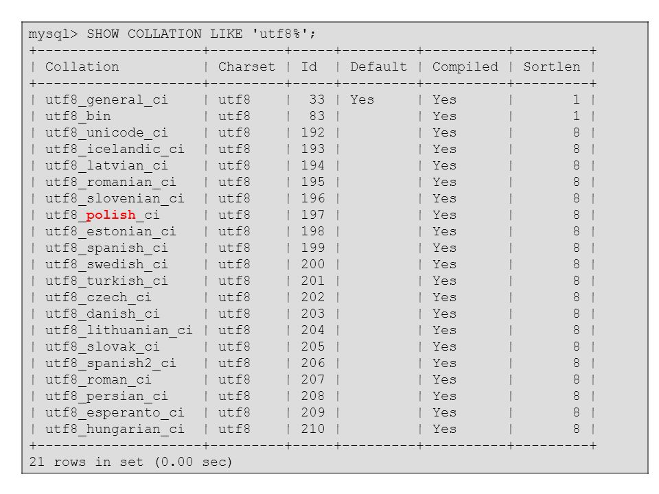 mysql> SHOW COLLATION LIKE utf8% ;