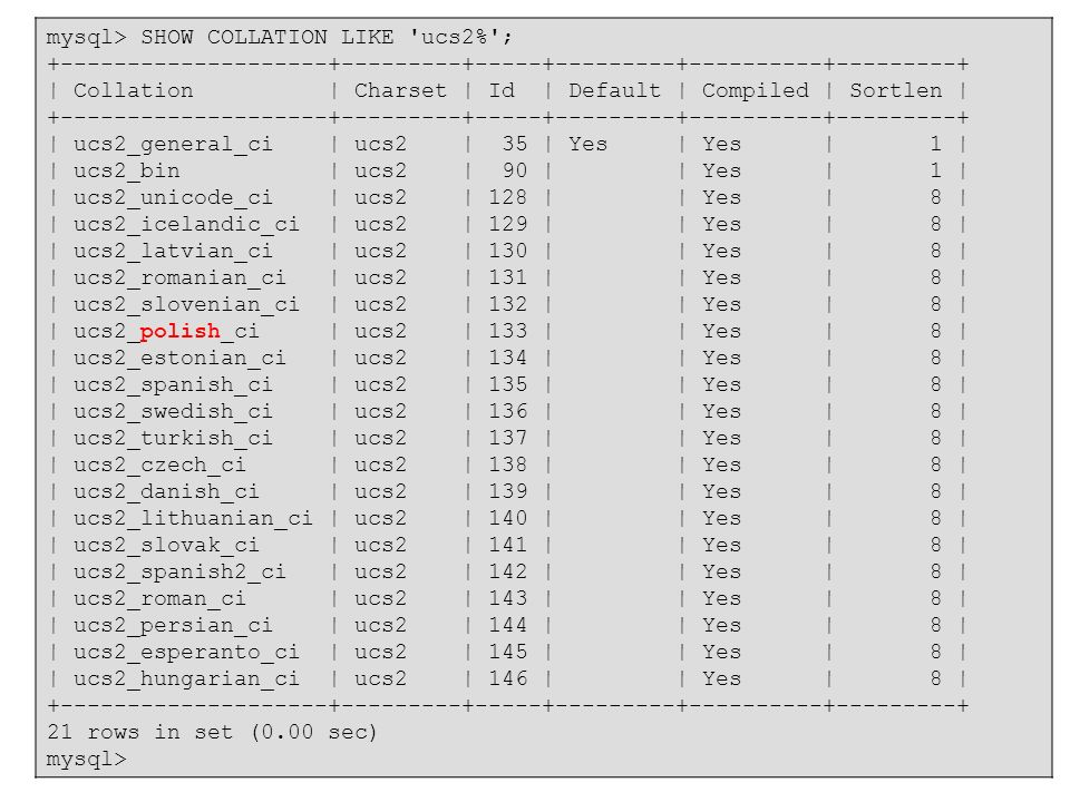 mysql> SHOW COLLATION LIKE ucs2% ;