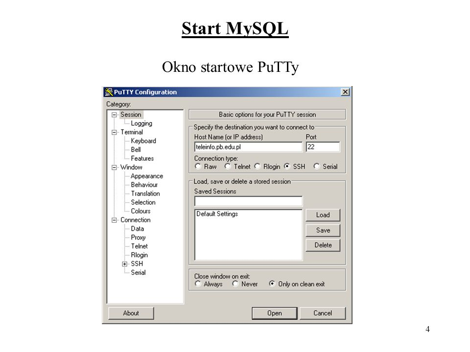 Start MySQL Okno startowe PuTTy