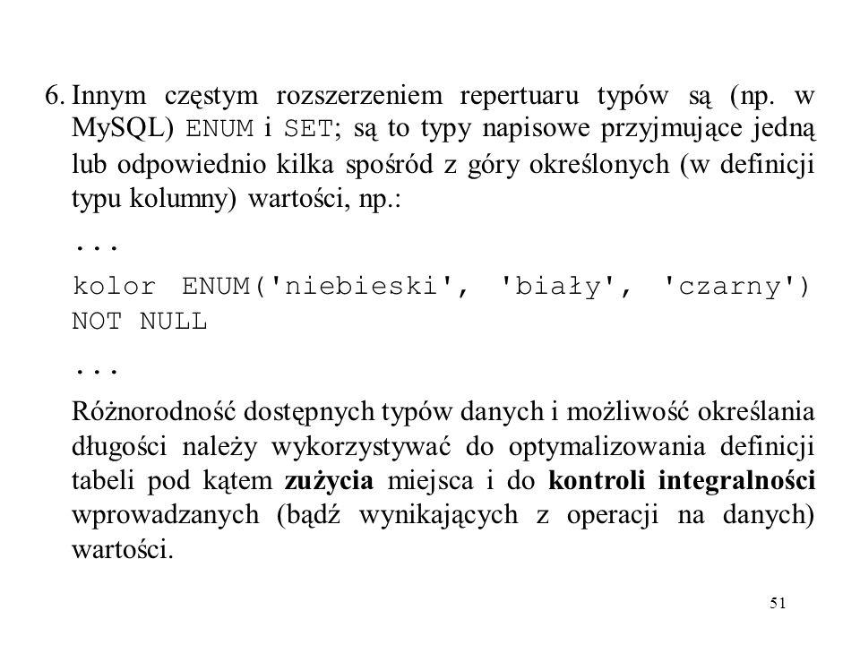 6. Innym częstym rozszerzeniem repertuaru typów są (np