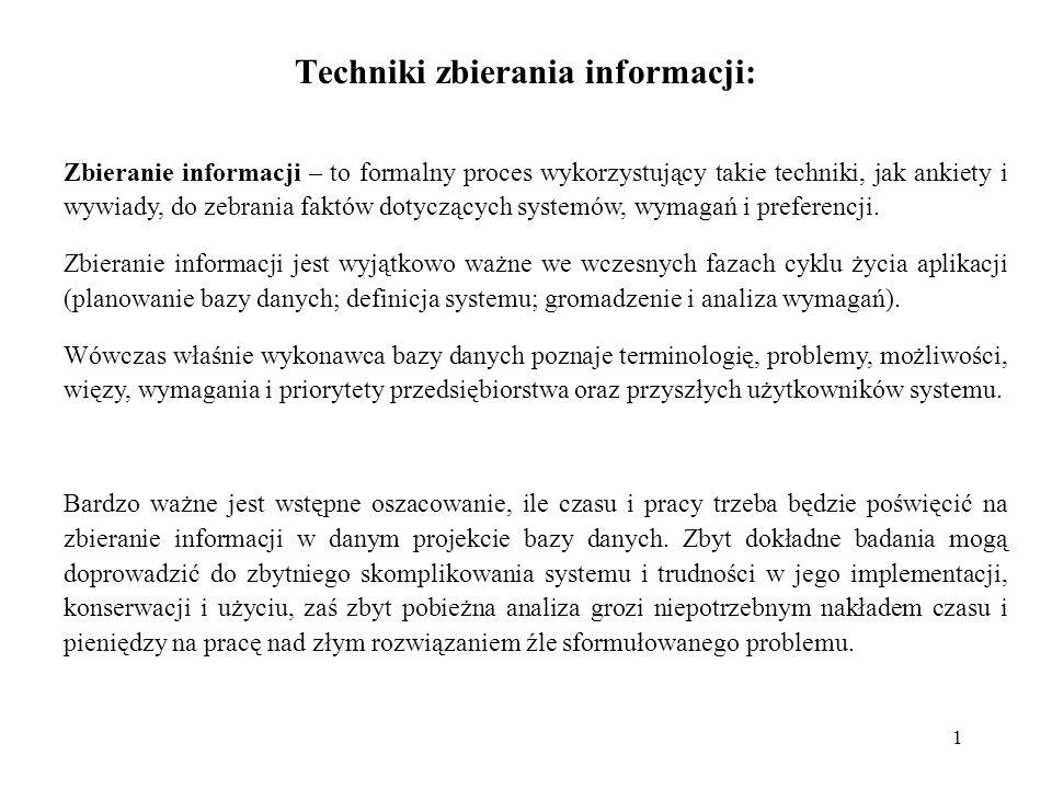 Techniki zbierania informacji: