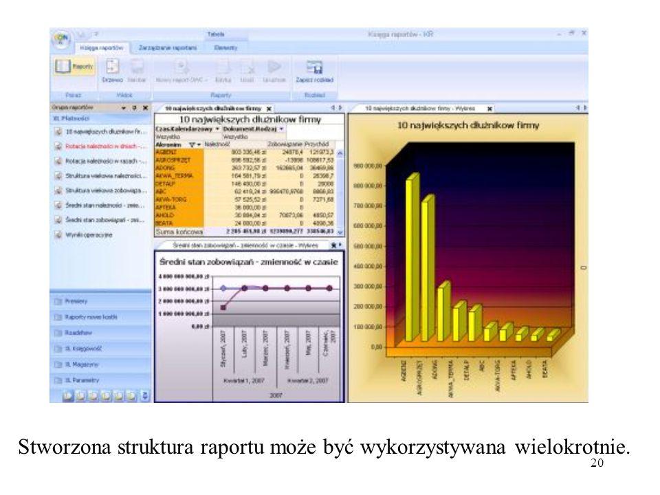 Stworzona struktura raportu może być wykorzystywana wielokrotnie.