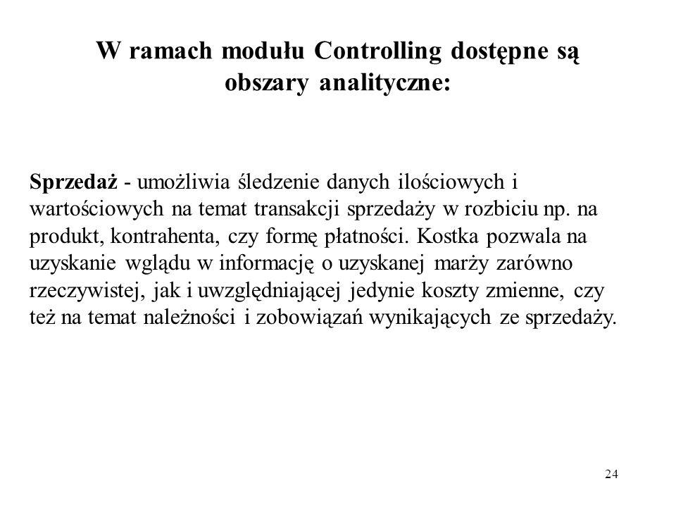 W ramach modułu Controlling dostępne są obszary analityczne:
