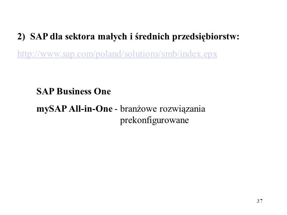 2) SAP dla sektora małych i średnich przedsiębiorstw: