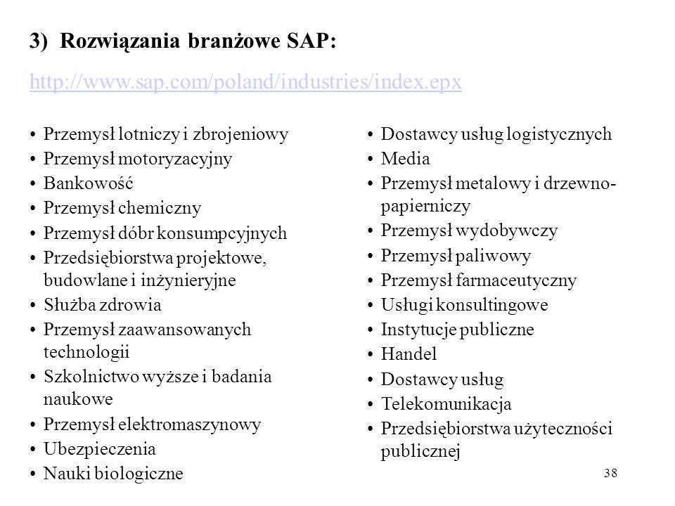 3) Rozwiązania branżowe SAP: