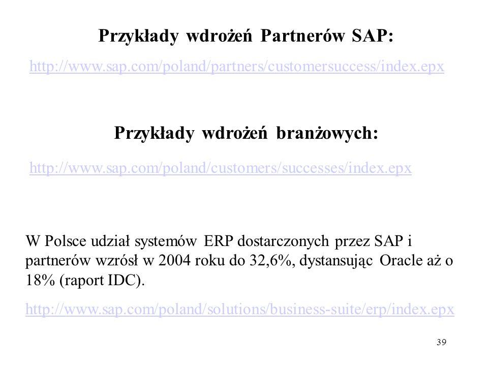 Przykłady wdrożeń Partnerów SAP: