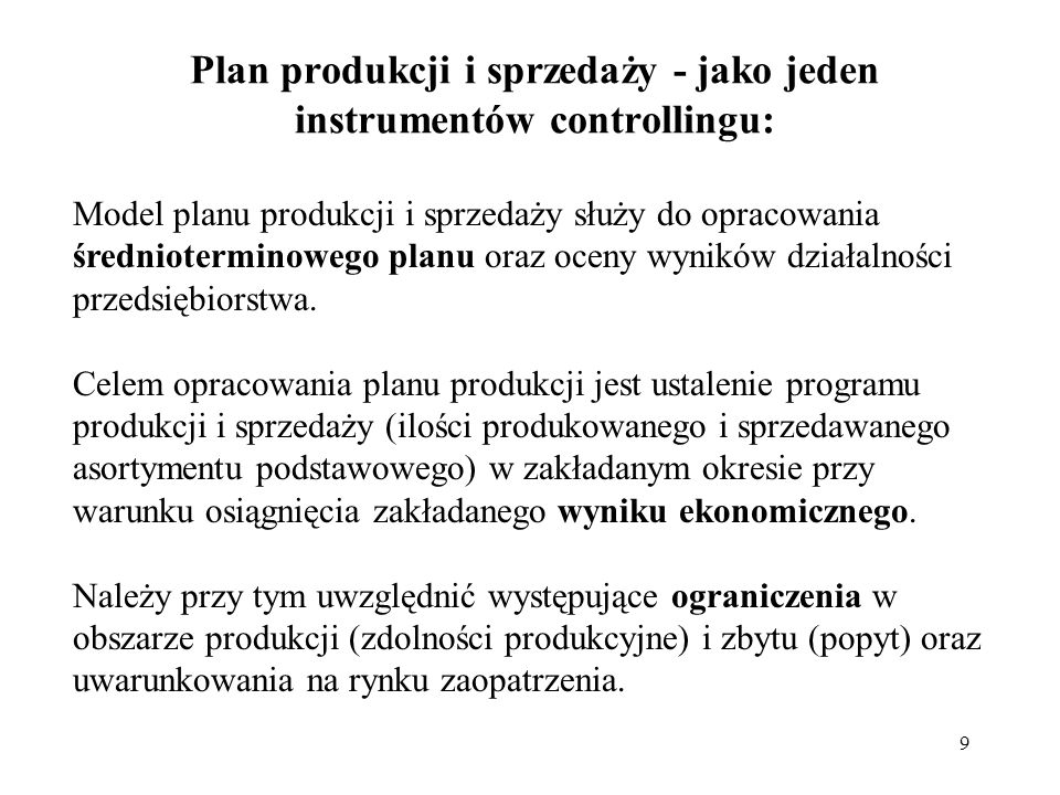 Plan produkcji i sprzedaży - jako jeden instrumentów controllingu:
