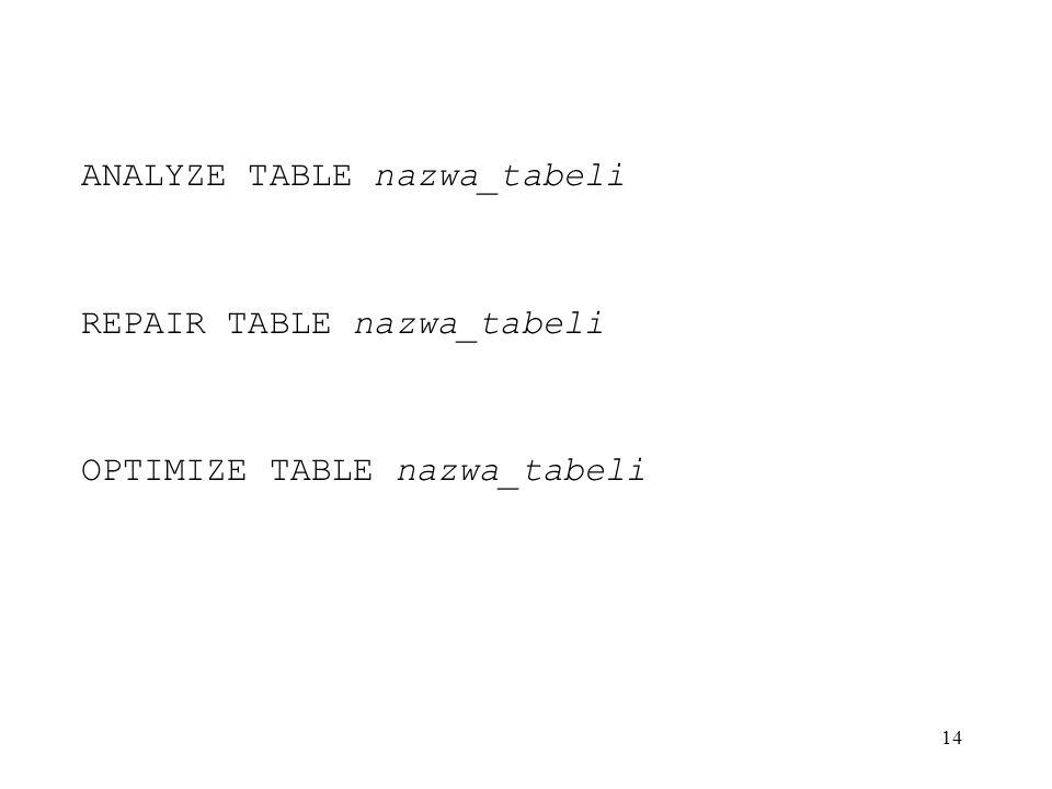 ANALYZE TABLE nazwa_tabeli