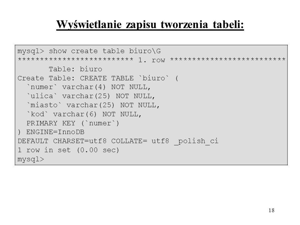 Wyświetlanie zapisu tworzenia tabeli: